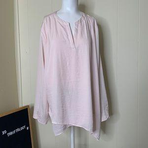 CHICOS 3 Light Pink Long Sleeve V Neck Blouse L